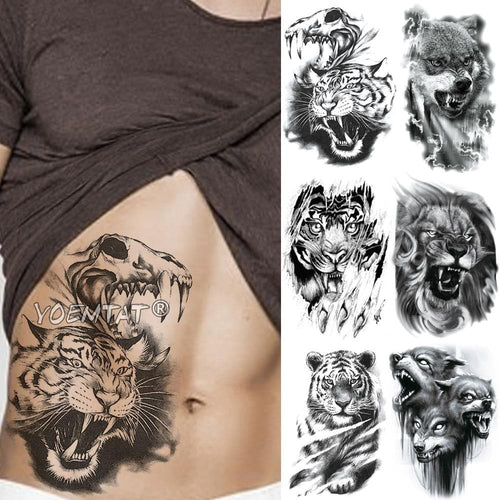 Tribal Wolf And Various Style - Temporary Tattoo Sticker Waterproof Tattoos - Beautiful Body Art