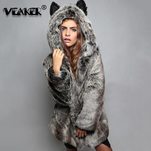 Women Wolf Faux Fur Coat Winter Warm Long Jackets 2020