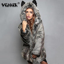 Load image into Gallery viewer, Women Wolf Faux Fur Coat Winter Warm Long Jackets 2020