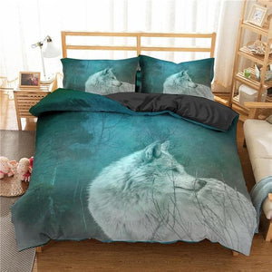 Homesky 3D Wolf Bedding Set - For Kids and Adult Beautiful Animal Style