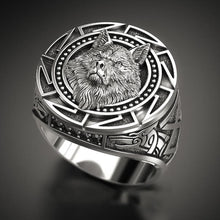 Load image into Gallery viewer, Ancient Silver Color Wolf Rings - For Men - Nordic Viking Men Ring