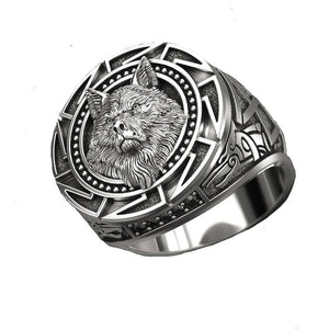 Ancient Silver Color Wolf Rings - For Men - Nordic Viking Men Ring