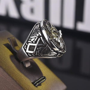 Vintage Wolf Head Ring for Mens Viking & Gothic Style
