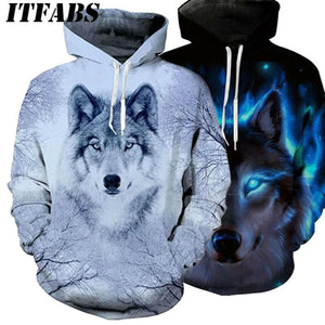 Autumn/Winter For Women/Men Wolf Graphic 3D Hoodie - Sweater Sweatshirt 2020 - Fahsion Long Sleeve Pullover