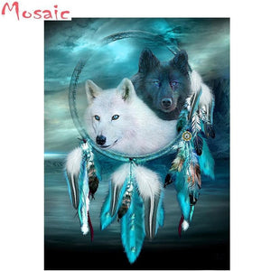 Full square/round Diamond 5D - Mosaic Painting Indian Wolf
