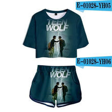 Load image into Gallery viewer, Teen Wolf Science Fiction Style - For Woman - Two Piece Set Summer Short Sleeve Crop Top - Wide choice of variants