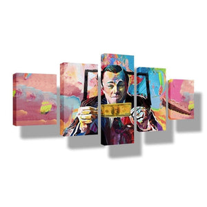 Graffiti Canvas Paintings The Wolf of Wall Street - 5 Pieces Print Wall