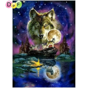 Wolf Painting Star Sky 5D - Diamond Mosaic Art