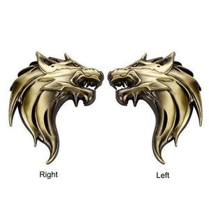 Left / Right Wolf Head Car Decor Metal Emblem