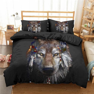 Multicolor 3D Wolf Bedding Sets Twin Full (Also Lion Style 3D) - Beautiful Gift!
