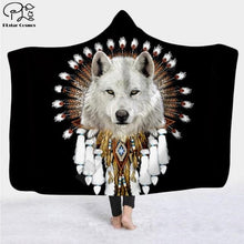 Load image into Gallery viewer, Wolf 3d printed Hooded Blanket - Sherpa Style - Microfiber