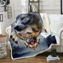Load image into Gallery viewer, Animal WOLF Hooded Blanket 3D Full Printed Adults/Child