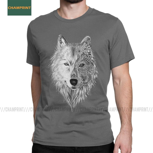 Gray Wolf T-Shirts Men - 100% Cotton - wide choice of different colors