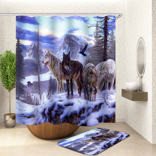 1/3/4 Pcs Snow Wolf Printing Bathroom Shower Curtain Sets + Toilet Lid Cover and Bath Mat Home Decor