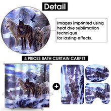 Load image into Gallery viewer, 1/3/4 Pcs Snow Wolf Printing Bathroom Shower Curtain Sets + Toilet Lid Cover and Bath Mat Home Decor
