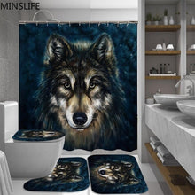Load image into Gallery viewer, Wild Wolf Head Waterproof 180*180cm Shower Curtain - Set 4 Piece Bathroom