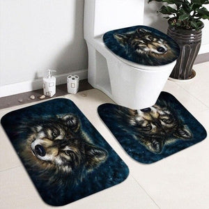 Wild Wolf Head Waterproof 180*180cm Shower Curtain - Set 4 Piece Bathroom