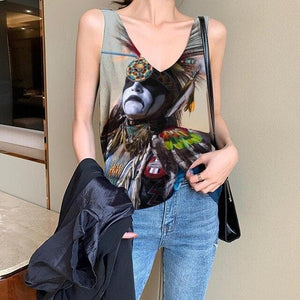 Indios Wolf And Nature Style -Top Women 3d Womens Clothing Elastic Shirt Printed