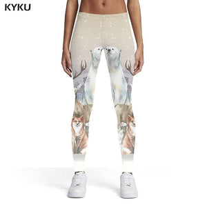 Beautiful Woman Elastic Wolf, Bear And Other Animals Leggins
