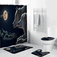 Load image into Gallery viewer, Wolf Curtain 4 sets Carpet,Cover Toilet,Cover Pad Bath, Mat Pad Set Bathroom Curtain
