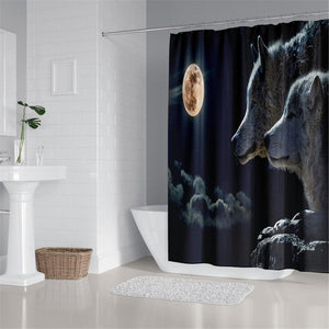 Wolf Curtain 4 sets Carpet,Cover Toilet,Cover Pad Bath, Mat Pad Set Bathroom Curtain