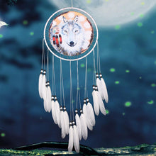 Load image into Gallery viewer, Wolf White DreamCatcher Hanging Feather Bead Hanging Decor Ornament - New Wolves - unique & trendy stuff