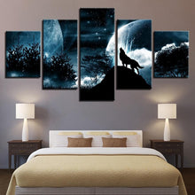 Load image into Gallery viewer, Living Room Modular Pictures Moon And Wolf 5 Panel Wolf Art