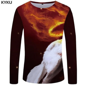 Wolf Shirt Men Long Sleeve Gothic Beautiful Style - Wide choice of designs