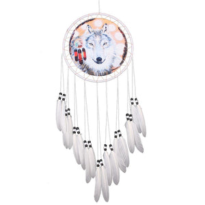 Wolf White DreamCatcher Hanging Feather Bead Hanging Decor Ornament - New Wolves - unique & trendy stuff