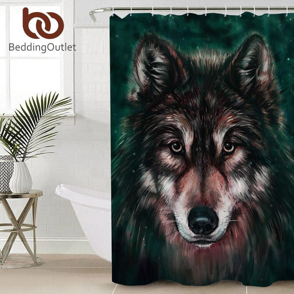 Wolf Painting Curtain 3D Waterproof - 165x180cm for Bathroom