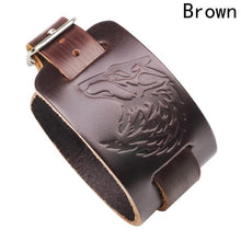 Load image into Gallery viewer, Black/Brown Leather Wolf Head Bracelet - New Wolves - unique & trendy stuff