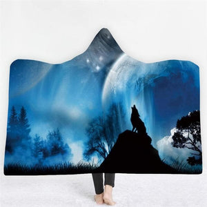 3D Animal Printed Wolf Hooded Blanket - New Wolves - unique & trendy stuff