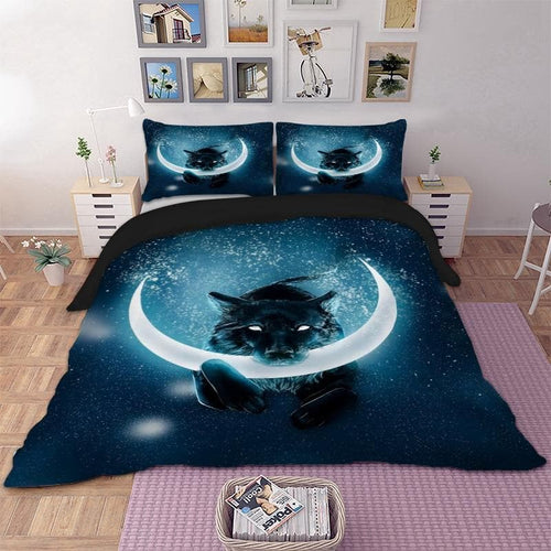 Wolf Bedding Set - 3D Effect - Moon Style
