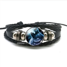 Load image into Gallery viewer, Wolf Head Glass Leather Bracelet - New Wolves - unique & trendy stuff