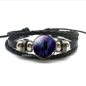 Wolf Head Glass Leather Bracelet - New Wolves - unique & trendy stuff
