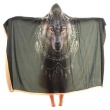 Load image into Gallery viewer, Moon Wolf Sherpa Hooded Blanket - New Wolves - unique & trendy stuff