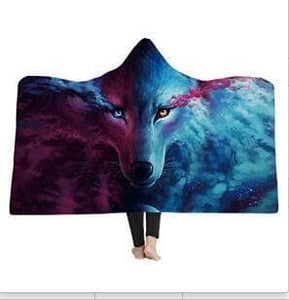 Moon Wolf Sherpa Hooded Blanket - New Wolves - unique & trendy stuff