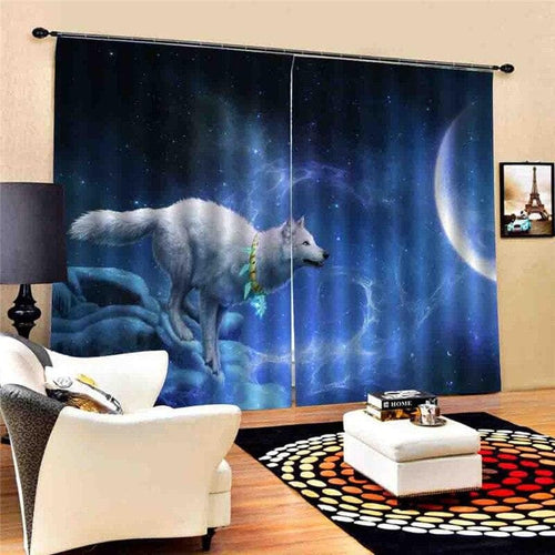 Wolf And Other Animals, Curtain For Living Room - Beautiful Night Wolf Style