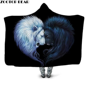 Wolf Warrior 3D Printed Plush Hooded Blanket for Adults, Youth Children