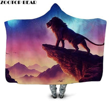 Load image into Gallery viewer, Wolf Warrior 3D Printed Plush Hooded Blanket for Adults, Youth Children