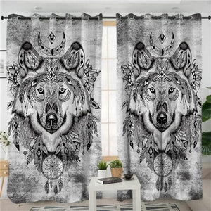 Tribal Wolf Living Room Curtain - New Wolves - unique & trendy stuff