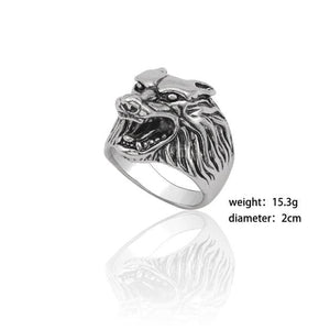 Gothic Punk Ring Men Retro Rabbit Snake Tiger Wolf Rings - New Wolves - unique & trendy stuff