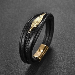 Multi-Layer Leather Leaf Feather Bracelet - New Wolves - unique & trendy stuff