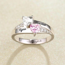 Load image into Gallery viewer, Personalized heart birthstone ring