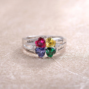 Personalized heart birthstone ring