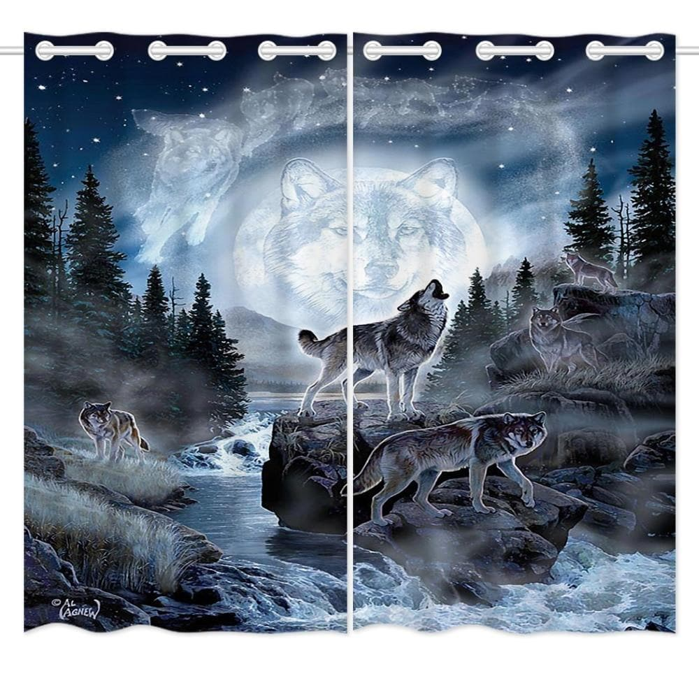 Blue Forest Moon Wolf Curtain - New Wolves - unique & trendy stuff