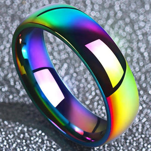 Colorful Rainbow 316L Stainless Steel Fashion Glossy Face Couple Rings for Women Men Kids Cool Boy Classic Jewelry anillos mujer