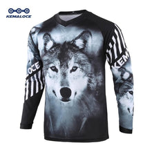 Load image into Gallery viewer, Moto Race/Mountain Bike/Motocross Jersey Black Wolf Shirt
