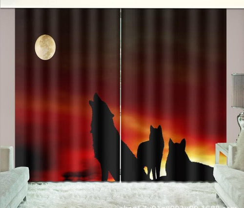 3D Window Curtains Wolf For Living Room Or Office. Wolf Art - Home Decoration