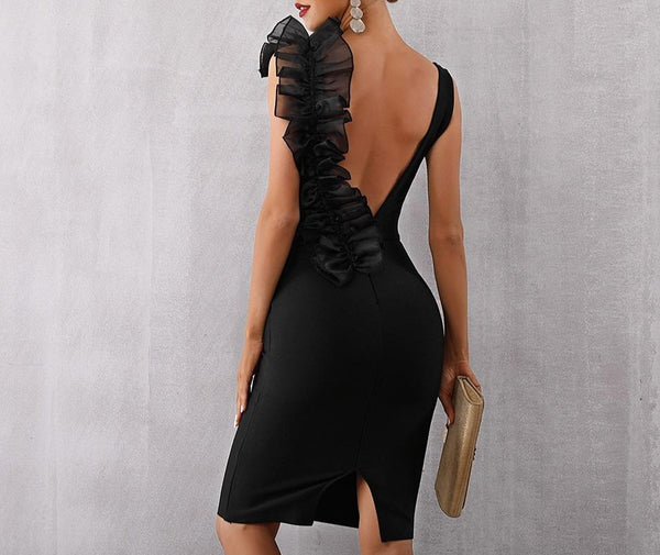 Ruffle V Neck - Mesh Backless Dress